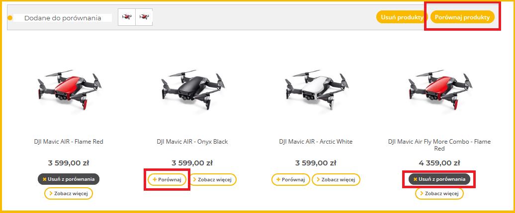 wybranie dronów do porównania